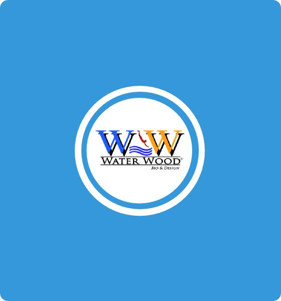 Water Wood Design logo - Newweblab.net  Natural pools and park, and sport open air wooden buildings