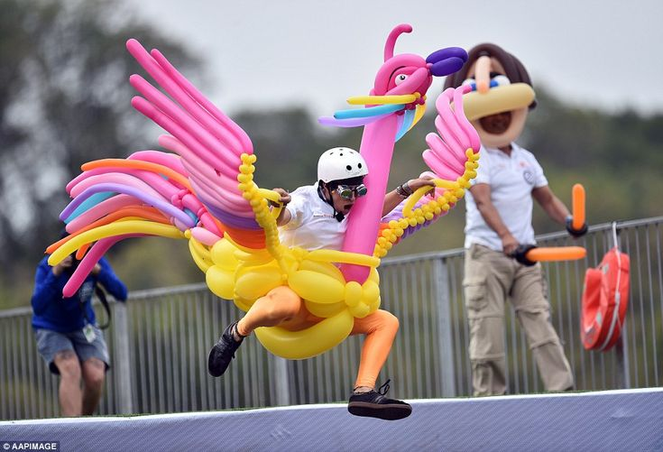 Balloonaversal's Peter Patterson designed The Balloonaful Birdman costume for the 2016 Moomba Birdman Rally.  Nathan Green, one of Balloonaversal's balloon twisting team members is pilot. The Birdman Rally is a charity competition for home-made gliders, hang gliders and human-p...