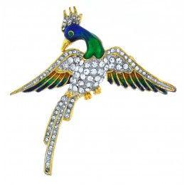 Beautiful, Colourful Peacock Brooch
