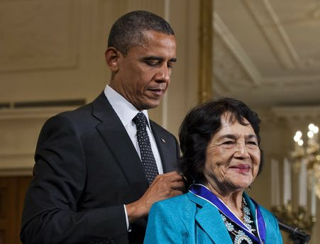 "United Farm Workers co-founder Dolores Huerta received the Presidential Medal of Freedom from President Barack Obama today. Said the president, ""Dolores was very gracious when I told her I had stolen her slogan, Si, se puede. Yes, we can. Knowing her, I'm pleased that she let me off easy— because Dolores does not play."""