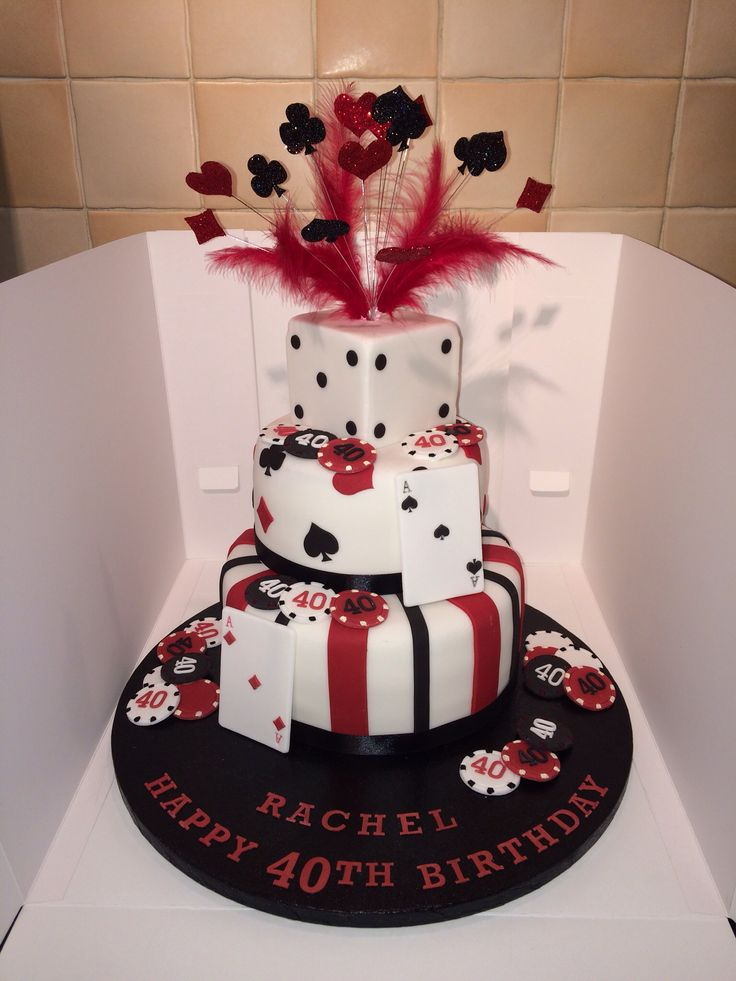 Casino theme cake with glitter wired explosion poker playing cards Las Vegas 40th birthday cake