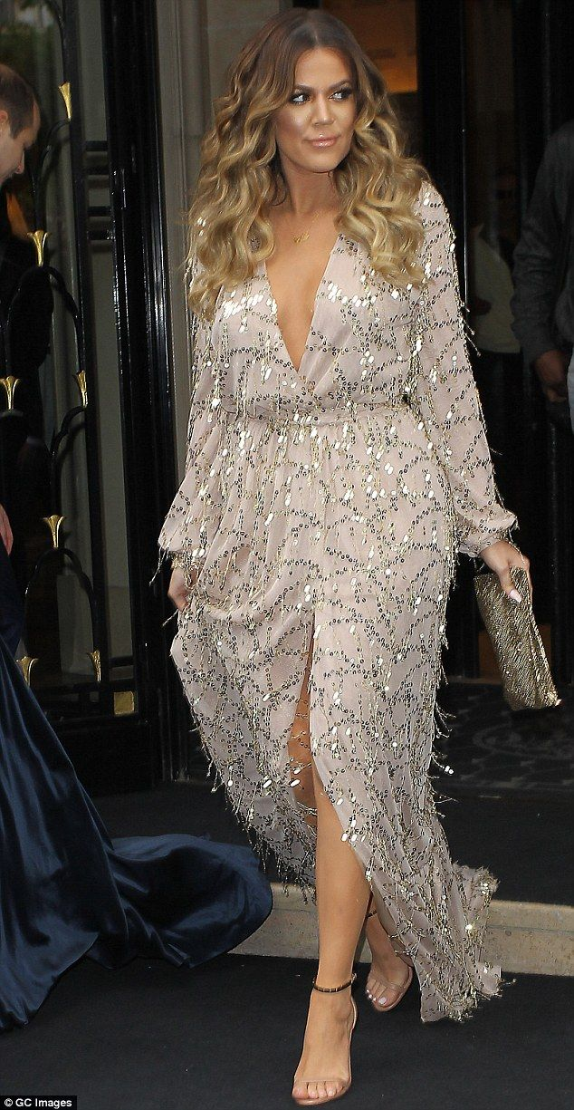 glimmering dusty rose Constantina and Louise dress / Fashion winner: Khloe Kardashian arrived at sister Kim and Kanye West's wedding rehearsal ...