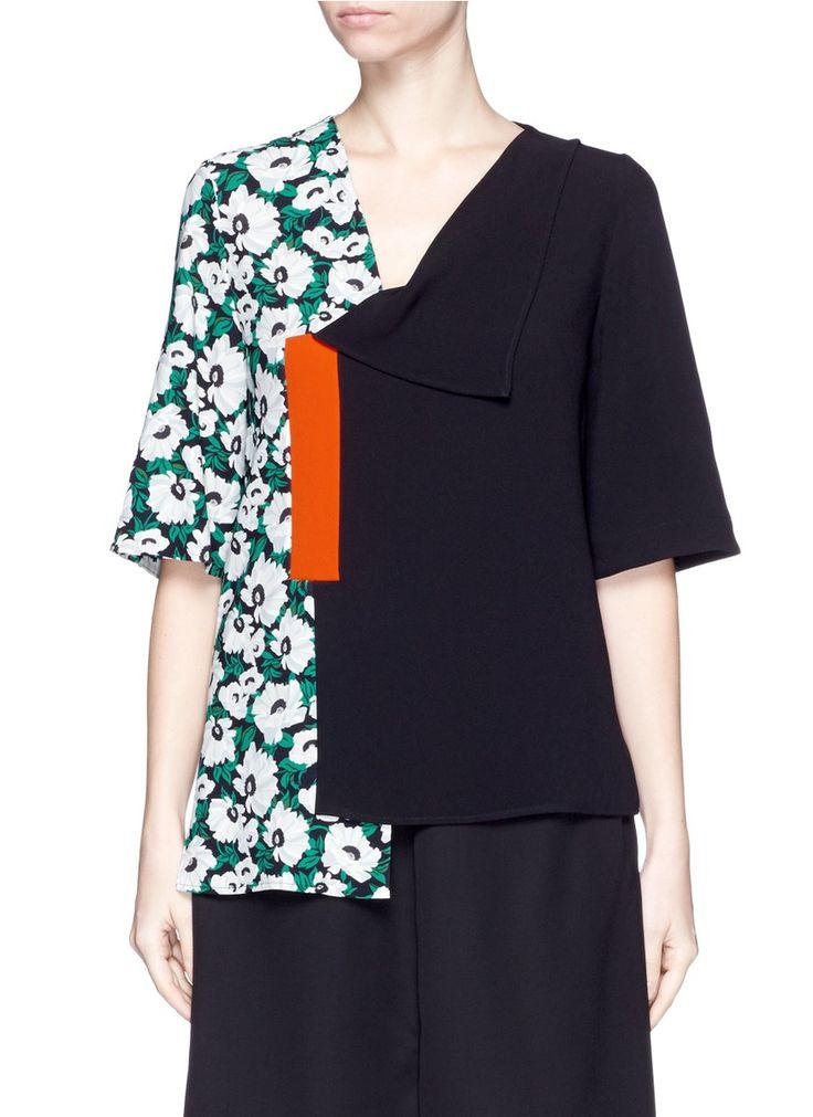STELLA MCCARTNEY ''Jessie' Margarita Flower Print Colourblock Top. #stellamccartney #cloth #top