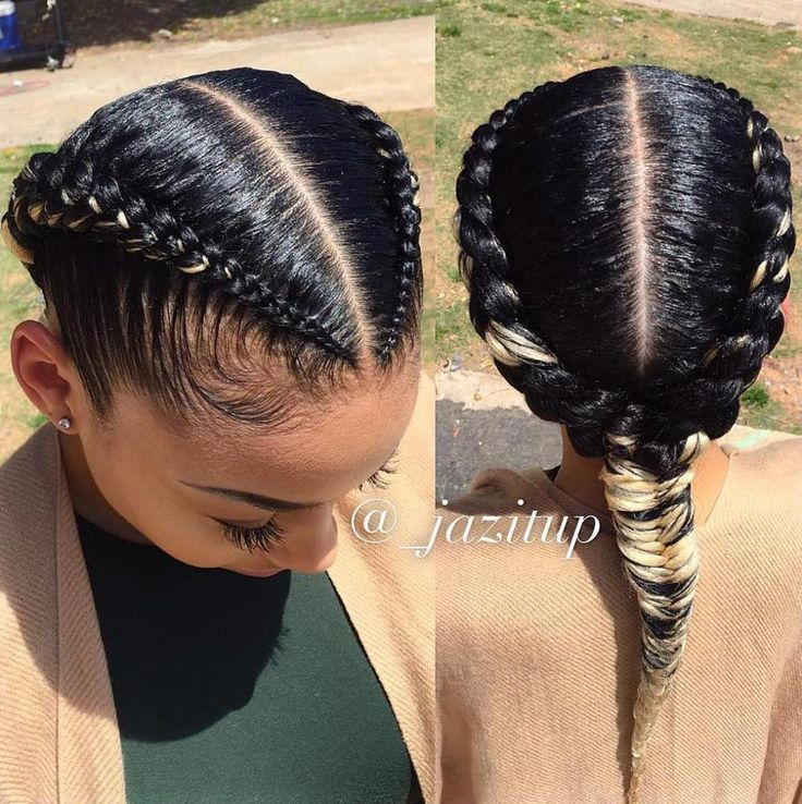 Two Braids Into One Black Hairstyle
