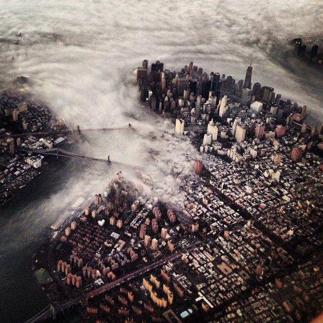 NYC. Low clouds around Lower Manhattan