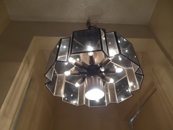 Copper and Smoked Glass Panel Chandelier 8 Bulb от ZeeJunkHunter, $175.00