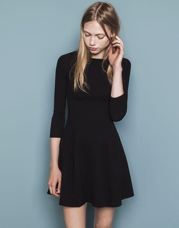 Pull&Bear - mujer - vestidos - vestido jacquard - negro - 09391399-I2014