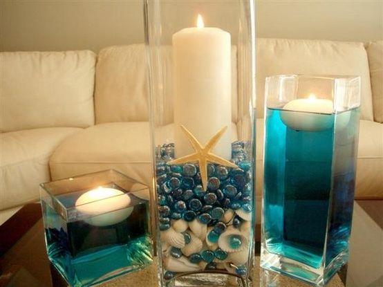 Flowers, Reception, White, Centerpiece, Ceremony, Wedding, Blue, Inspiration, Board, Beach, Candles, Aqua, Turquoise, Theme, Shells, Floating, Savannah event decor