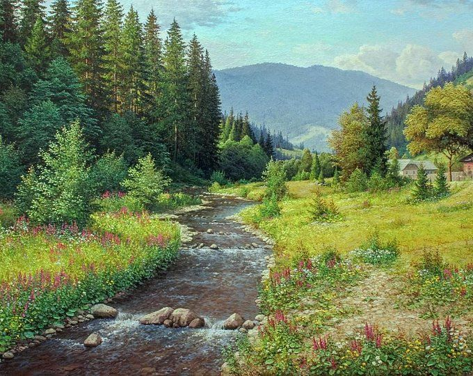 Mountain River Original Oil Painting Home Decor Landscape Summer Landscape Large Painting Realism Oil Painting Art Collectibles Wall Art