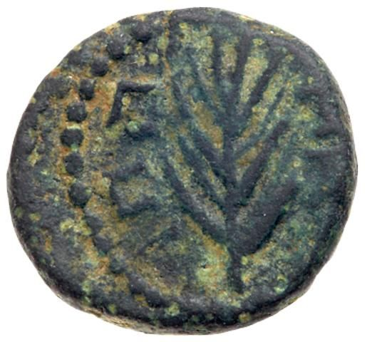 Pseudo-autonomous issue. AE (2.92 g), 1st century AD VF Pseudo-autonomous issue. Æ (2.92 g), 1st century AD. Turreted, veiled and draped bust o Tyche right. IΠΠA…, palm branch. RPC -; RPC Suppl. -; AJC II, Agrippa II, 51 (same dies). Brown patina. Very Fine. Estimated Value $500 #Coins #Ancient #Judaea #MADonC