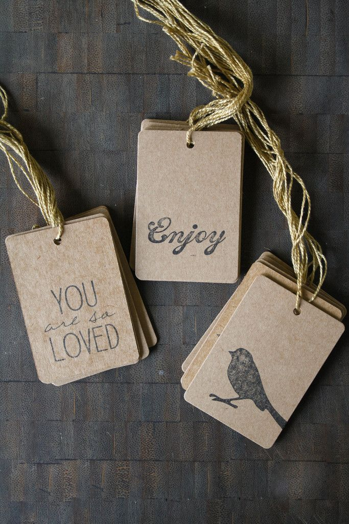 Kraft Gift Tags with String - Olive Manna
