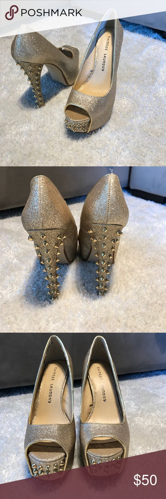GOLD studded peep toe pumps Chinese Laundry Glitter is gold, studded peep toe platform  pumps. Never worn. Nordstrom Shoes Platforms