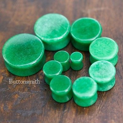 Green Jade Stone Plugs / gauges Double Flared - 2g 0g 00g 7/16 1/2 9/16 5/8 3/4 7/8 1""