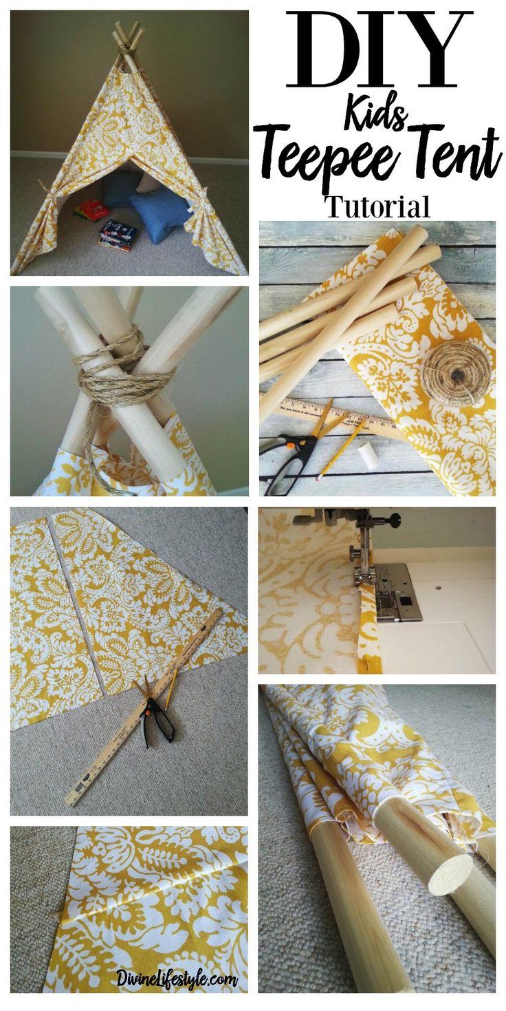 DIY Kids Teepee Tent Tutorial | Kids teepee tent, Fabrics ...