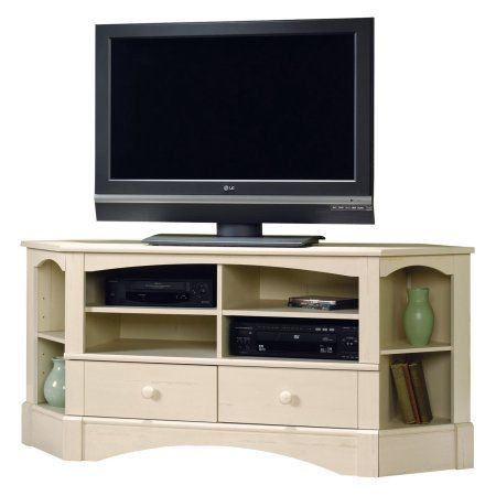 Sauder Harbor View Corner Entertainment Credenza for TVs up to 42 inch in Multiple Finishes, White