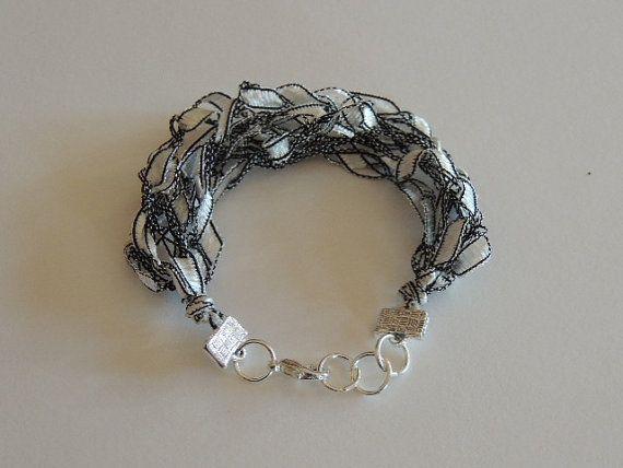 Ladder Yarn Bracelet Crocheted Bracelet
