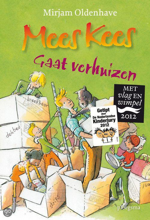 Mirjam Oldenhave - Mees Kees gaat verhuizen || Vlag & Wimpel 2012 (vanaf 6 jaar) || Ploegsma 2011 || De moeder van Mees Kees vindt dat hij eindelijk op kamers moet. Gelukkig blijft hij in de buurt en helpt groep 6B met de verhuizing. || http://www.bol.com/nl/p/mees-kees-gaat-verhuizen/1001004011542570/