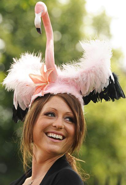 英バークシャー州ウィンザー近郊で、フラミンゴをかたどった帽子をかぶる女性。当地で開催中の王室主催競馬レース「ロイヤル・アスコット」では、女性の観客は思い思いの帽子を着用するのが習わしだ(2011年06月16日) 【AFP=時事】 ▼16Jun2011時事通信|気分はフラミンゴ プレミアム写真館 2011年06月 http://www.jiji.com/jc/pp?d=pp_2011&p=201106-photo280 #Royal_Ascot #Flamingo_Hat