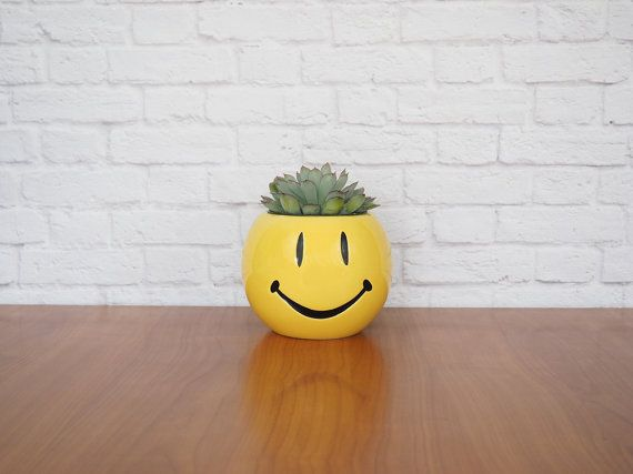 Vintage Planter Yellow Smiley Face Ceramic by FireflyVintageHome, $16.00