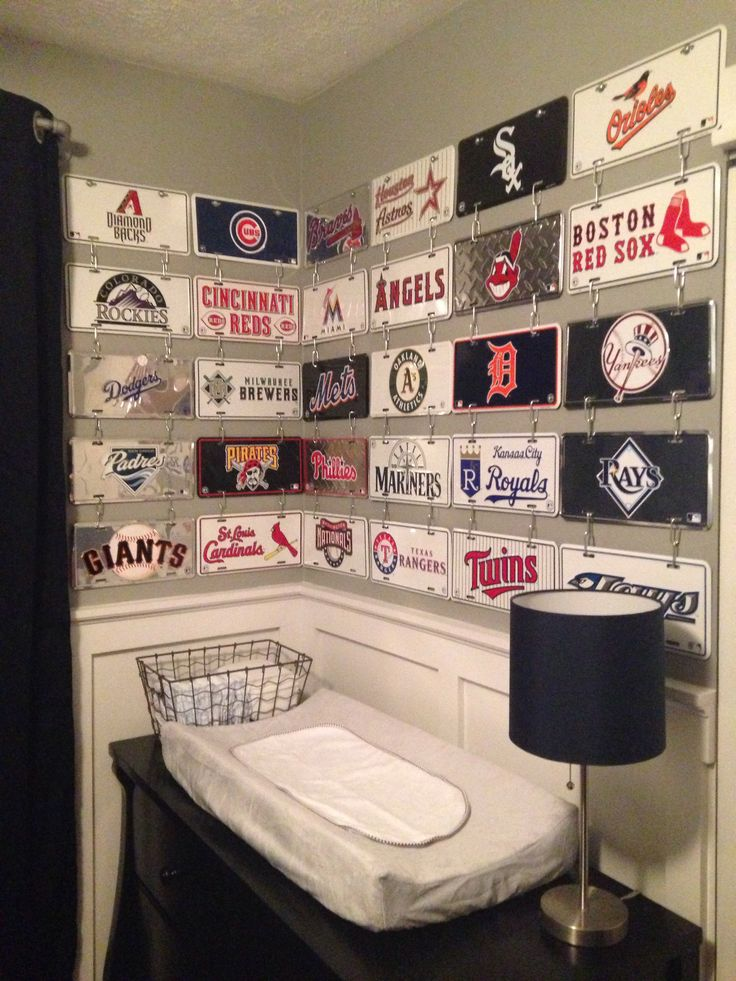 baby boys nursery baseball bedroom mlb license plates industrial room