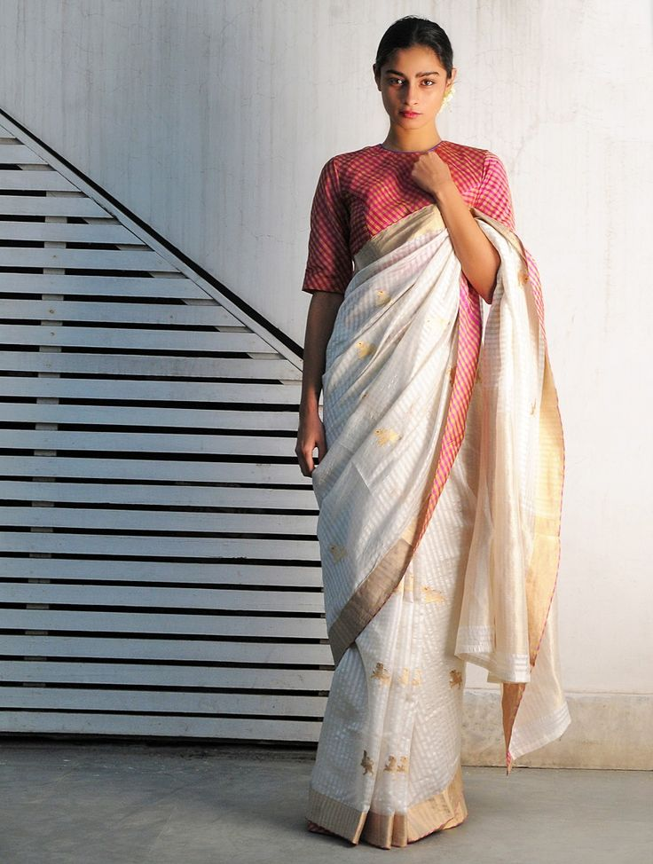 White Pink Lime Yali Chanderi Handwoven Saree By Raw Mango