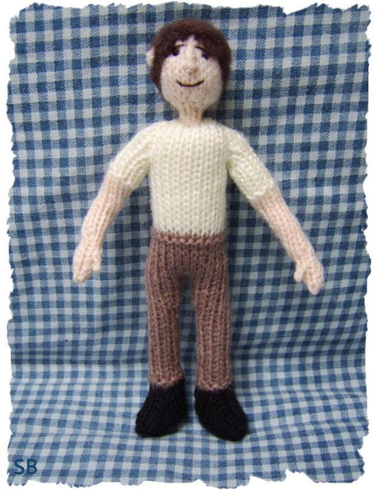 This little man doll can be used to turn into a hundred different characters, look at my project page to see him transformed into Mad Eye Moody from the Harry potter films.How about Dr Who? your favourite pop star? your husband!!!! With a few basic clothes, and a change of hair colour he can become just who you want.Knitted in DK on 3mm needles from the easy to follow pattern, he can be completed in a few hours. He is all knitted in the flat.