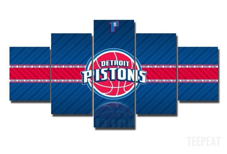 2017 Detroit Pistons Banner - 5 Piece Canvas Painting