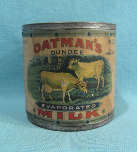 Oatman-039-s-Evaporated-Milk-Soldered-Tin-with-NICE-GRAPHIC-COW-Label-Dundee-IL
