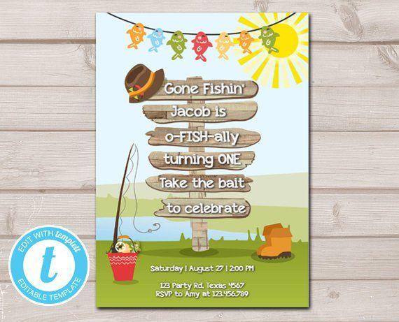 Birthday Invitation Fishing O Fish Ally Wood 1st Gone Boy Printable Template Editable Templett Digital