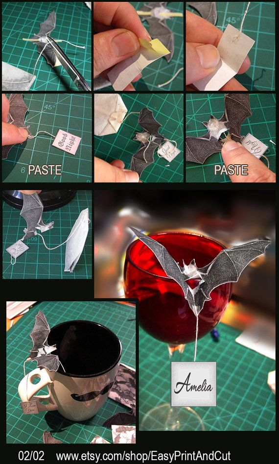 Free tutorial, 02/02 printables etsy shop.   Tea bag Holder, Escort Cup Place Card, Decor for Wine Glass with Message- Gothic - Alternative Wedding Decoration-Halloween Place Card.