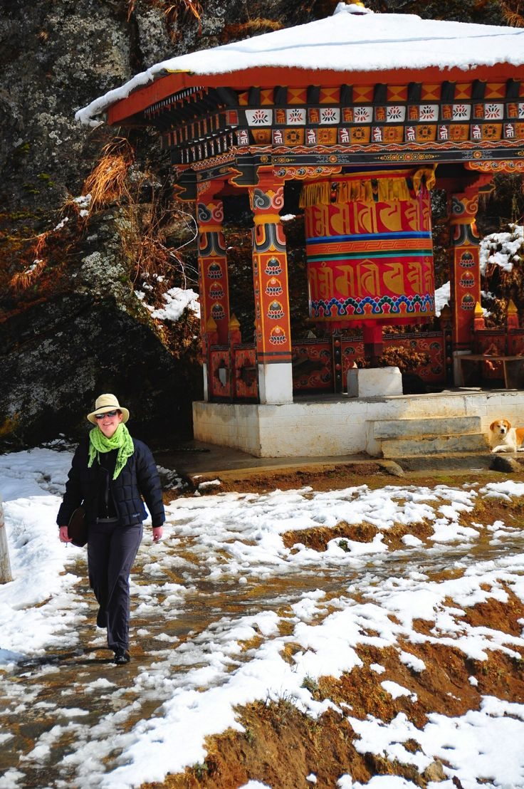Seven Skies' director Clare Turner trekking on a cold February day in Bhutan.