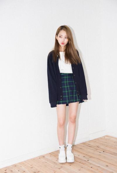 Korean fashion - white t-shirt, green plaid skirt,navy cardigan and white sneakers