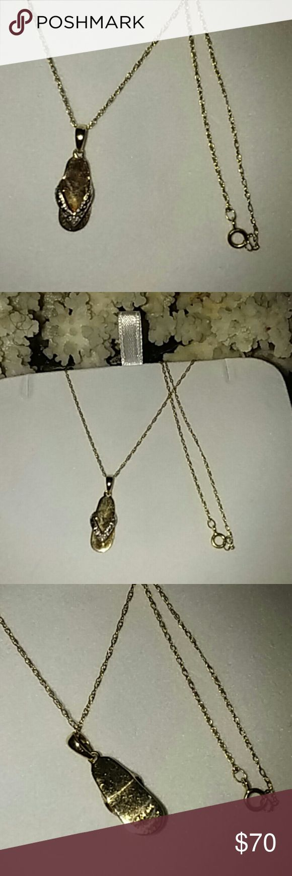 "10k gold chain and pendant 10k gold chain and pendant , have little diamond ,18"" long Stamped >AFJC 10K no brand Jewelry Necklaces"