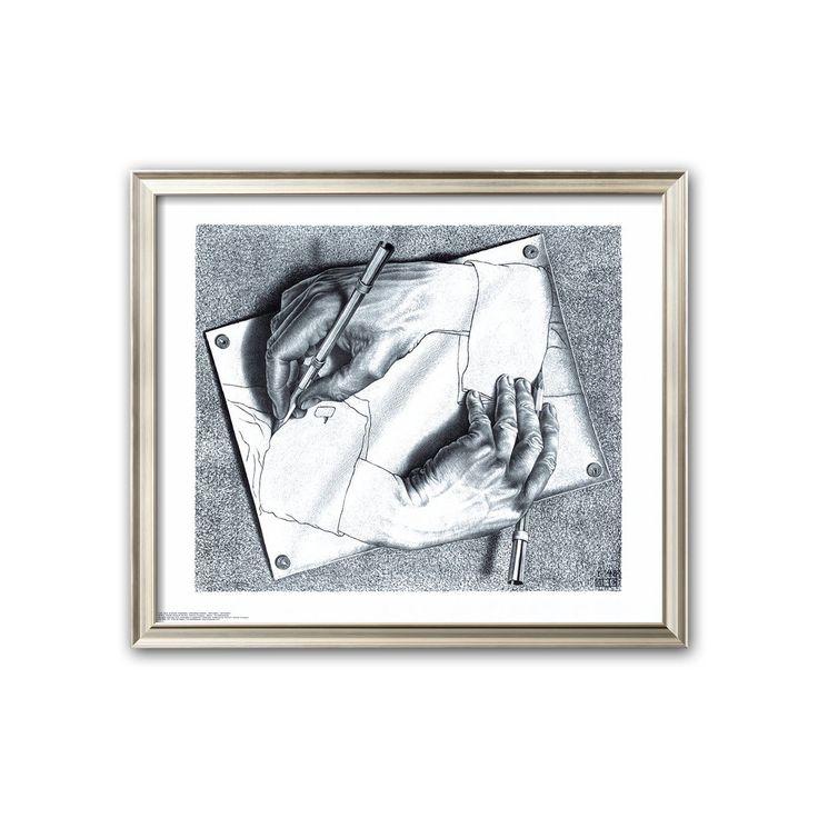 Art.com Drawing Hands Framed Art Print by M. C. Escher, White