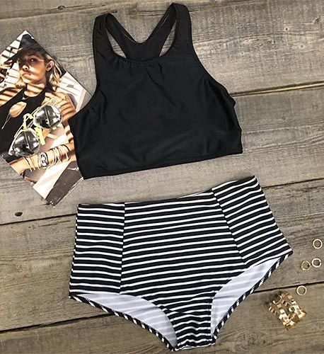 You don't need color to look totally fire. Classic makes fashion, this b&w stripe bikini set is as fashion as classic. Soft and easy to wear, you must have one.