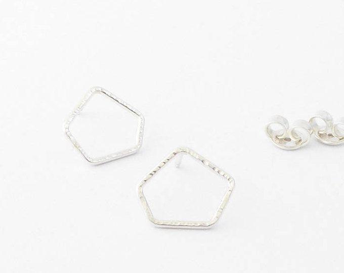 Silver hammered stud earrings-Handmade post-Geometric earrings-OOAK-Contemporary jewelry-Minimalist MINOatelier.etsy.com  (scheduled via http://www.tailwindapp.com?utm_source=pinterest&utm_medium=twpin)