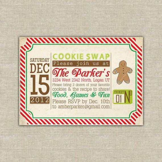 Cookie Swap exchange christmas Invitation by AmysStationeryShoppe, $37.50
