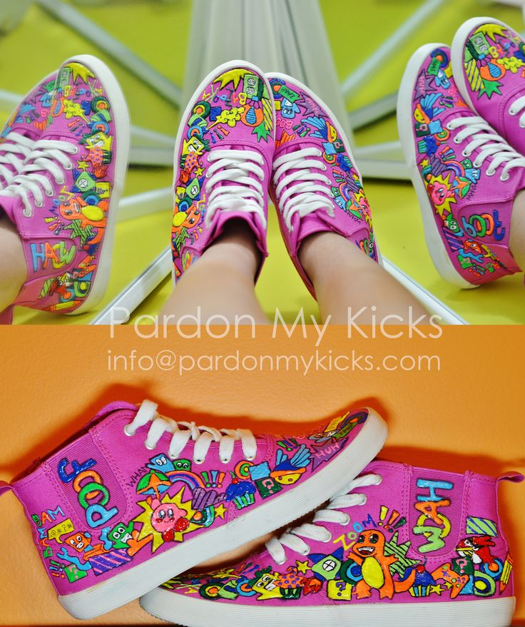 Kirby>>>>> In colour, hand painted, customized...Yes, we create original styles ;) Get your own customized kicks to show who your allegiance is towards. WWW.PARDONMYKICKS.COM INFO@PARDONMYKICKS.COM