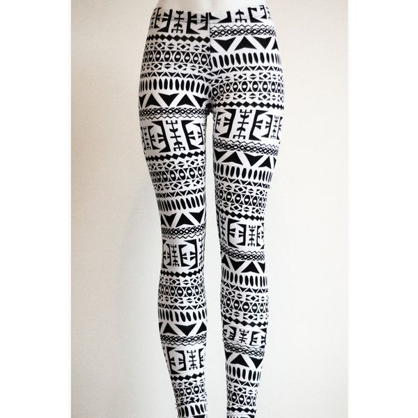 Tribal Womens Aztec Mayan Print Pattern Black and White Leggings... ($22) ❤ liked on Polyvore featuring pants, leggings, jeans, bottoms, aztec leggings, stretch leggings, tribal leggings, tribal print leggings and stretch pants