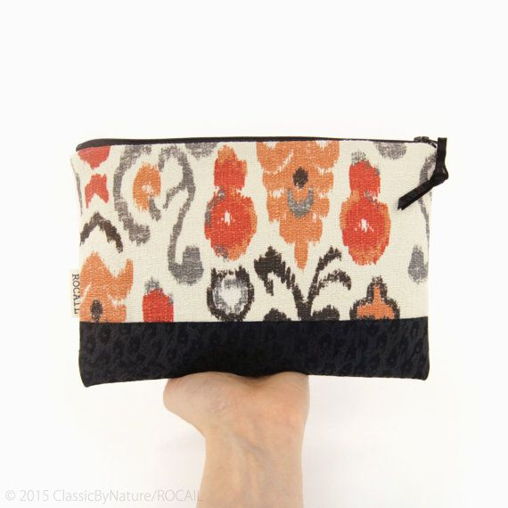 Ikat colorblock bag in coral orange gray and ecru / Recycled black leopard stamped leather by ClassicByNature