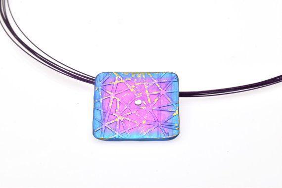 Anodized Titanium Pendant, Blue - Purple Square Pendant, Geometric pendant Unique handmade, Giampouras Collections €66.00 #titanium #geometric #pendant