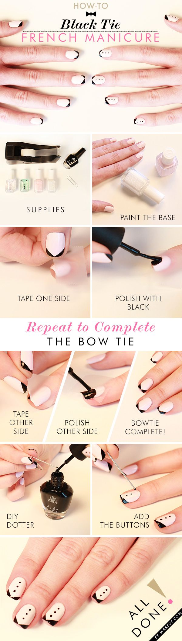 Get fancy with this Black Tie French Manicure!