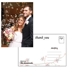 Thank your guests in style after your wedding day with this personalised thank you postcard.