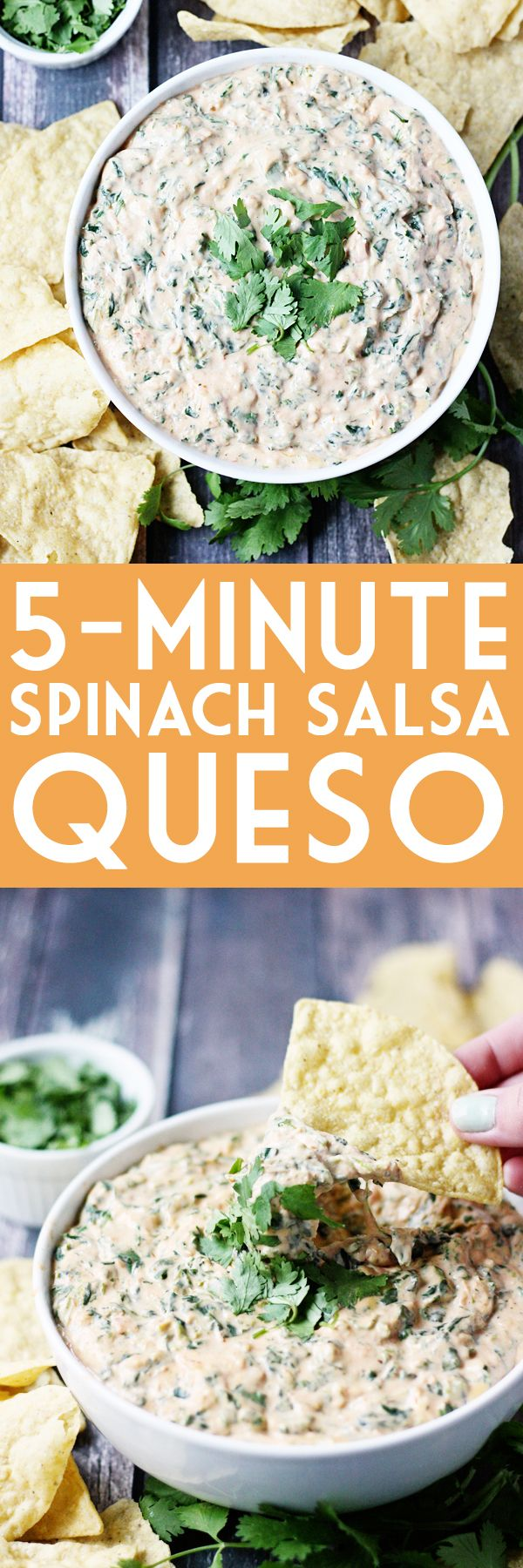 5-Minute Spinach Salsa Queso -- Need a last-minute Cinco de Mayo appetizer? Try this 5-minute spinach salsa queso dip. It is creamy, cheesy and totally addictive!   isthisreallymylife.com