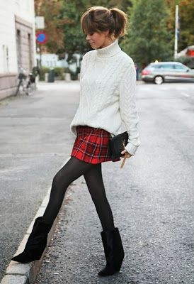 Yes typical #Scotland fashion ! cable knit jumper + plaid mini skirt #EdinburghChauffeurs www.deverecars.com