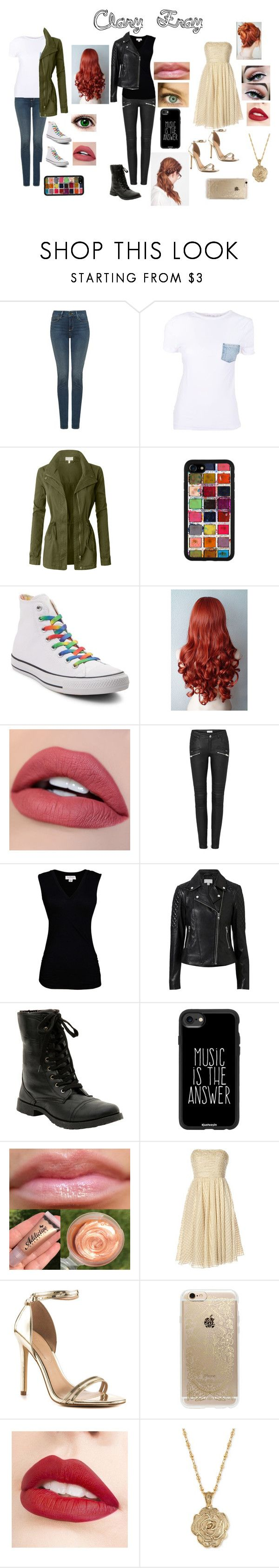 """""""Clary Fray"""" by a-fangirl-mrc on Polyvore featuring NYDJ, Helmut Lang, LE3NO, Converse, Velvet by Graham & Spencer, Witchery, Casetify, Notte by Marchesa, ALDO and Rifle Paper Co"""