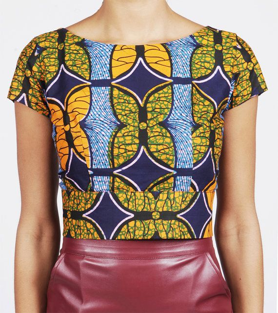 Tangerine Butterfly Top Cropped African Print top by MyAshoMarket