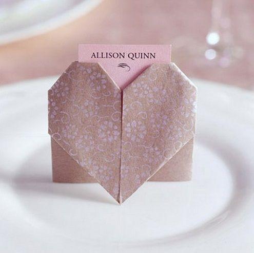 marque place origami coeur
