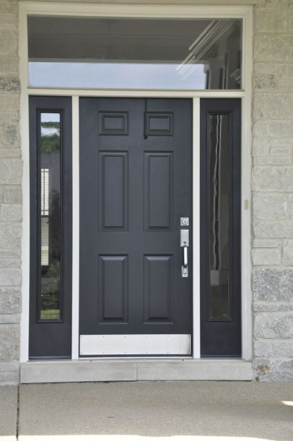 Simple black front door with glass surround elegant for Elegant front doors