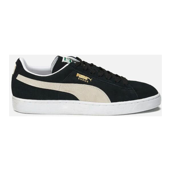Puma Suede Classic + Trainers - Black/Team Gold/White ($72) ❤ liked on Polyvore featuring shoes, sneakers, suede sneakers, white lace up sneakers, white sneakers, black shoes and black sneakers